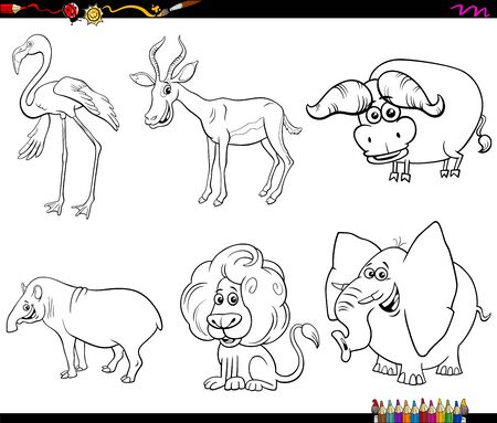 Black and White Cartoon Illustration of Funny Wild Animals Comic Characters Set Coloring Book Page