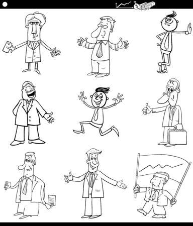 Black and WhiteCartoon Illustration of Businessmen People Characters Set
