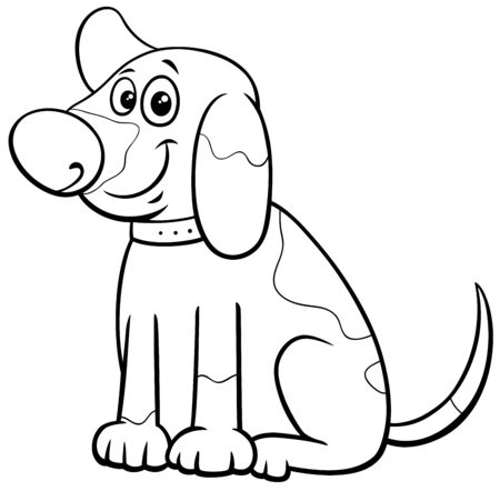 Black and White Cartoon Illustration of Funny Spotted Puppy Comic Animal Character Coloring Book Page