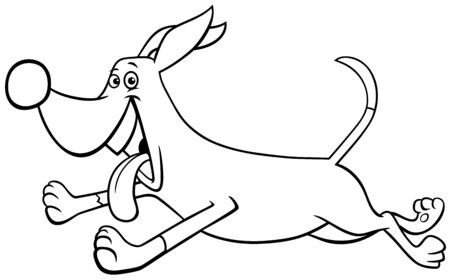 Black and White Cartoon Illustration of Funny Running Dog Comic Animal Character Coloring Book Page Ilustrace