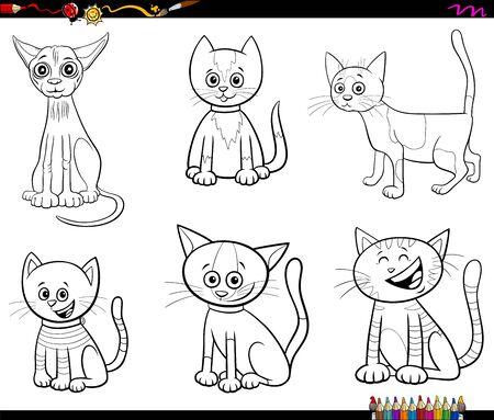 Black and White Cartoon Illustration of Cats and Kittens Pet Animal Characters Set Coloring Book Page