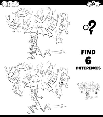 Black and White Cartoon Illustration of Finding Differences Between Pictures Educational Game for Children with Raining like Cats and Dogs Proverb Coloring Book Page Illustration