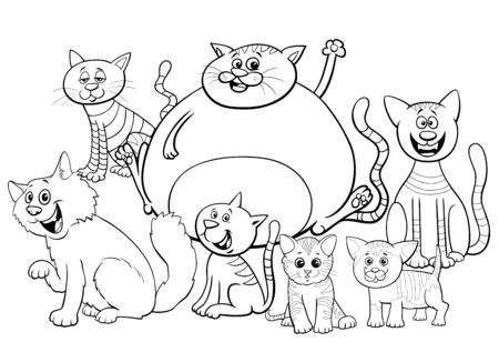 Black and White Cartoon Illustration of Cats and Kittens Comic Animal Characters Group Coloring Book Page