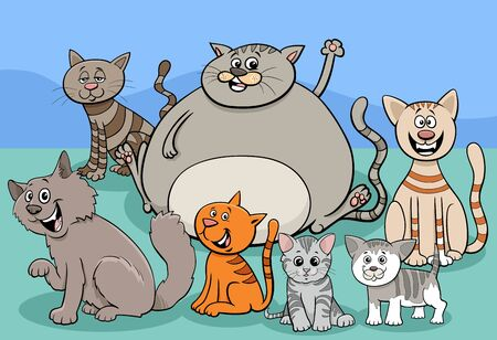 Cartoon Illustration of Cats and Kittens Comic Animal Characters Group