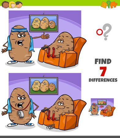 Cartoon Illustration of Finding Differences Between Pictures Educational Game for Children with Couch Potato Proverb