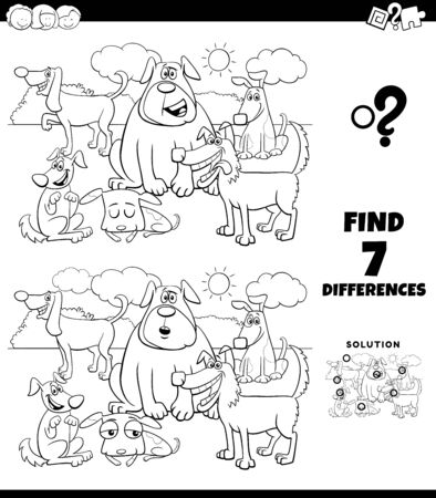 Black and White Cartoon Illustration of Finding Differences Between Pictures Educational Game for Children with Funny Dogs Characters Group Coloring Book Page Illustration