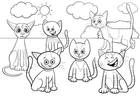 Black and White Cartoon Illustration of Cats and Kittens Comic Animal Characters Group in the Park Coloring Book Page Foto de archivo - 137603885