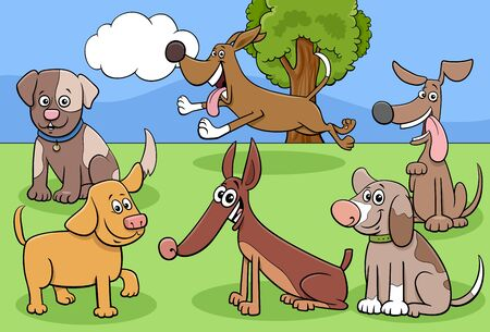 Cartoon Illustration of Dogs and Puppies Pet Animal Comic Characters Group in the Park