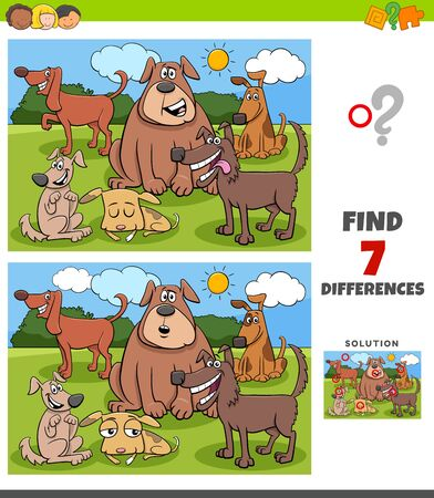 Cartoon Illustration of Finding Differences Between Pictures Educational Game for Children with Funny Dogs Characters Group Illustration