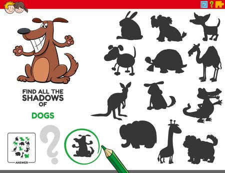 Cartoon Illustration of Finding All The Shadows of Dogs Educational Game for Children