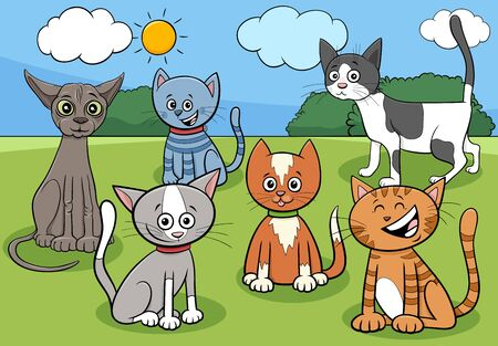 Cartoon Illustration of Cats and Kittens Comic Animal Characters Group in the Park Foto de archivo - 137604310