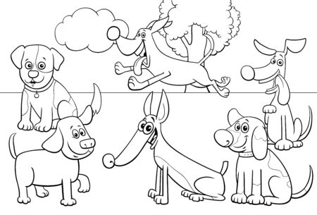 Black and White Cartoon Illustration of Dogs and Puppies Pet Animal Comic Characters Group in the Park Coloring Book Page Illustration