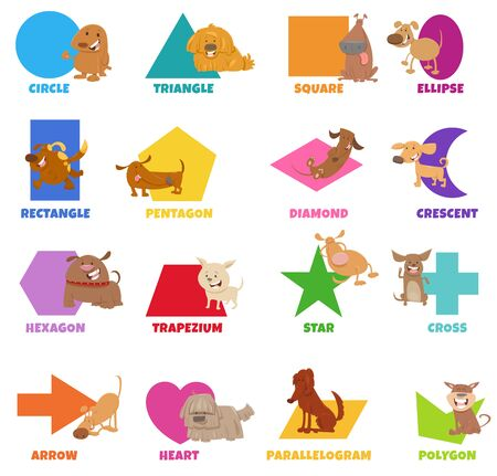 Educational Cartoon Illustration of Basic Geometric Shapes with Captions and Dogs Animal Characters for Preschool and Elementary Age Children