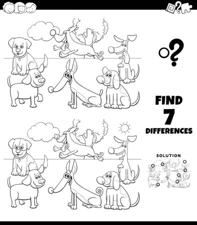 Black and White Cartoon Illustration of Finding Differences Between Pictures Educational Game for Children with Dogs Characters Group Coloring Book Page