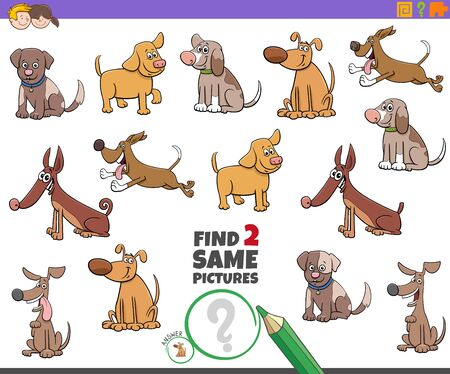 Cartoon Illustration of Finding Two Same Pictures Educational Activity Game for Children with Dogs and Puppies Animal Characters Illustration