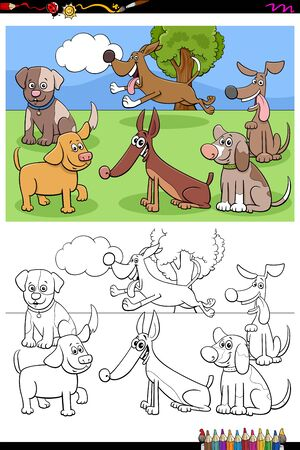 Cartoon Illustration of Funny Dogs Animal Characters Group Coloring Book Page