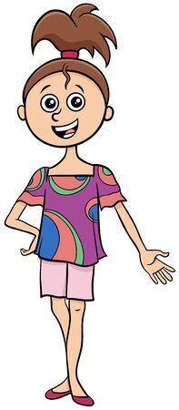 Cartoon Illustration of Funny Elementary or Teen age Girl Comic Character