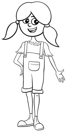 Black and White Cartoon Illustration of Pretty Elementary or Teen age Girl Comic Character Coloring Book  Page