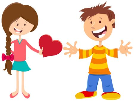 Greeting Card Cartoon Illustration with Happy Girl and Boy with Heart on Valentines Day