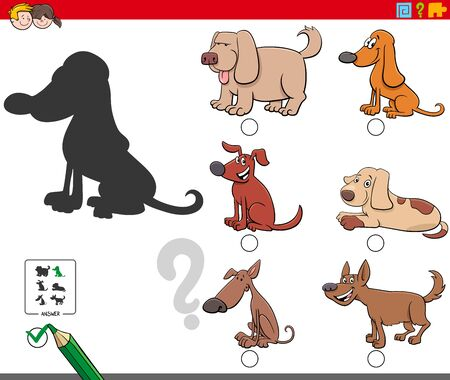 Cartoon Illustration of Finding the Right Shadow Educational Game for Children with Funny Dogs and Puppies Characters