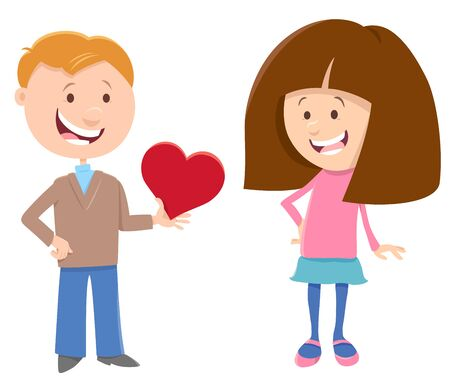 Greeting Card Cartoon Illustration with Girl and Boy with Heart on Valentines Day