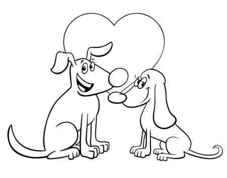 Black and White Valentines Day Greeting Card Cartoon Illustration with Happy Dog Characters in Love Coloring Book Page