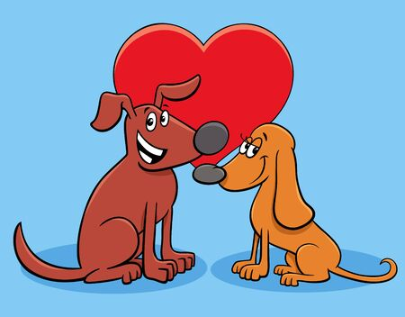 Valentines Day Greeting Card Cartoon Illustration with Happy Dog Characters in Love Ilustração