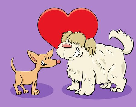 Valentines Day Greeting Card Cartoon Illustration with Funny Dog Characters in Love Ilustração