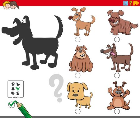 Cartoon Illustration of Finding the Right Shadow Educational Task for Children with Funny Dogs and Puppies Characters