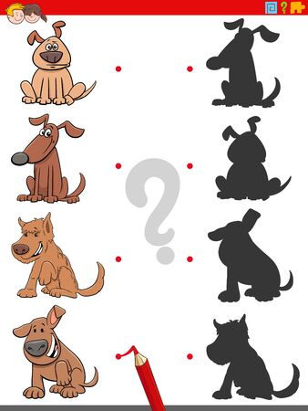 Cartoon Illustration of Match the Right Shadows with Pictures Educational Task for Children with Funny Dogs Animal Characters