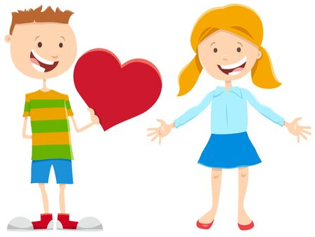 Greeting Card Cartoon Illustration with Funny Girl and Boy Kid Characters with Heart on Valentines Day
