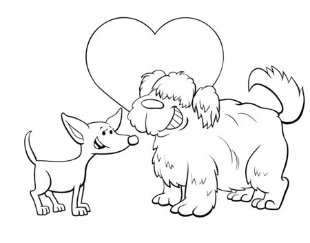 Black and White Valentines Day Greeting Card Cartoon Illustration with Funny Dog Characters in Love Coloring Book Page