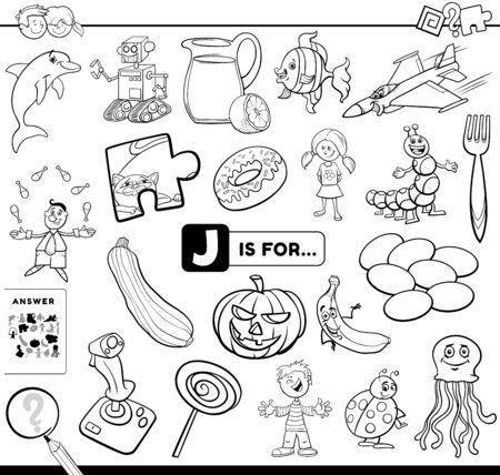 Black and White Cartoon Illustration of Finding Picture Starting with Letter J Educational Task Worksheet for Children with Objects and Characters Coloring Book Page