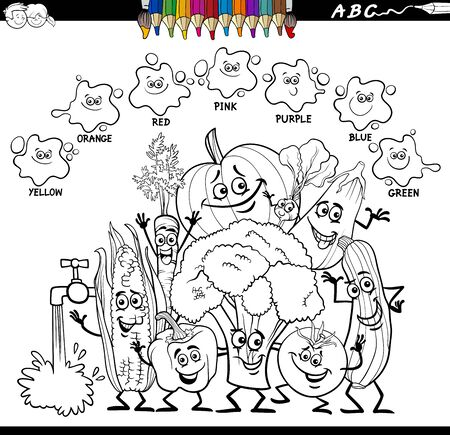 Black and White Cartoon Illustration of Basic Colors Educational Worksheet with Fresh Vegetables Characters Group Coloring Book Page