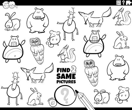 Black and White Cartoon Illustration of Finding Two Same Pictures Educational Game for Children with Funnt Wild Animal Characters Coloring Book Page Ilustracja
