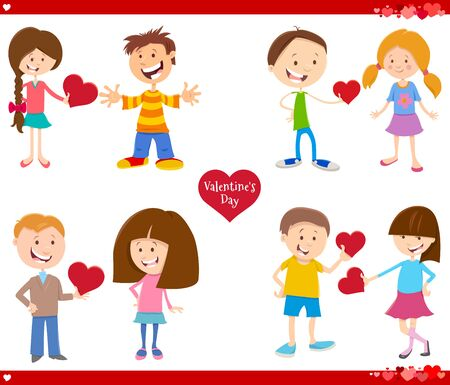 Greeting Card Cartoon Illustration with Girls and Boys Couple in Love with Heart on Valentines Day Set
