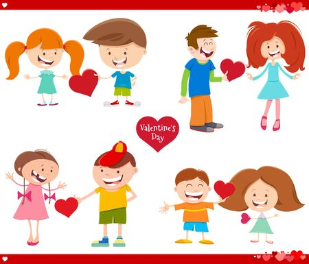 Greeting Card Cartoon Illustration with Girls and Boys in Love with Heart on Valentines Day Set
