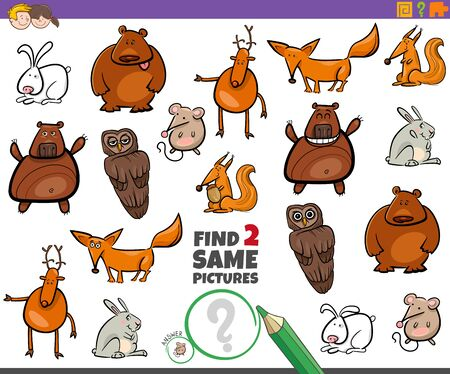 Cartoon Illustration of Finding Two Same Pictures Educational Game for Children with Funnt Wild Animal Characters Ilustracja