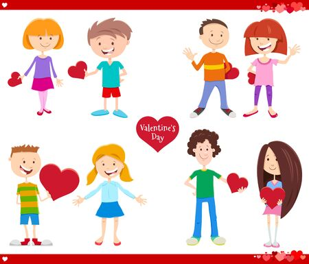 Greeting Card Cartoon Illustration with Girl and Boy in Love with Heart on Valentines Day Holiday Set