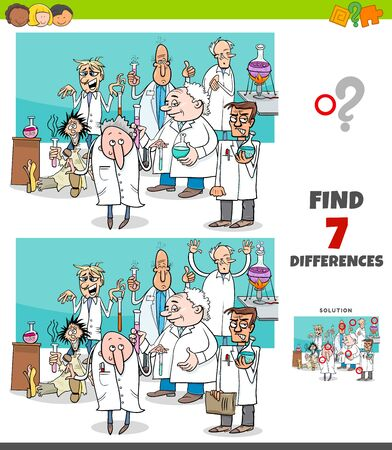 Cartoon Illustration of Finding Differences Between Pictures Educational Game for Children with Scientist Characters Group in Laboratory