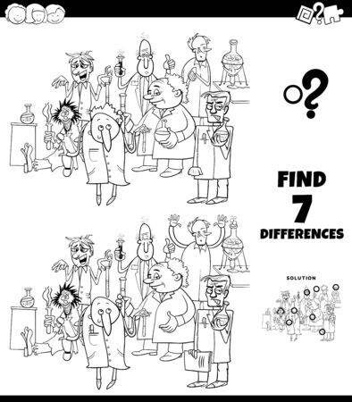 Black and White Cartoon Illustration of Finding Differences Between Pictures Educational Game for Children with Scientist Characters Group in Laboratory Coloring Book Page