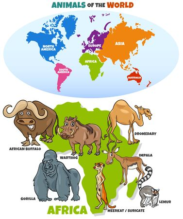 Educational Cartoon Illustration of African Animals and World Map with Continents Shapes Stock Illustratie