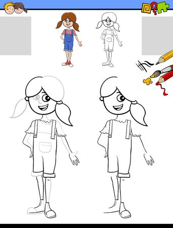 Cartoon Illustration of Drawing and Coloring Educational Activity for Children with Funny Young Girl Character