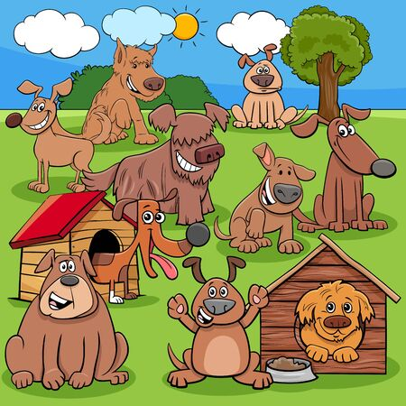 Cartoon Illustration of Dogs and Puppies Animal Comic Characters Group Illustration