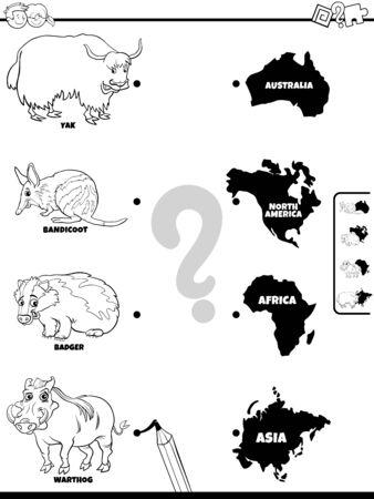 Illustration de dessin animé en noir et blanc du jeu d'association éducatif pour les enfants avec des personnages d'espèces animales et des formes de continent Page de livre de coloriage
