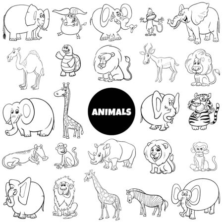 Black and White Cartoon Illustration of Wild Animal Characters Large Set Coloring Book Page