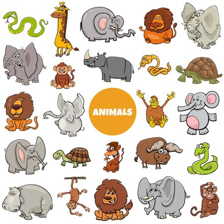 Ilustración de dibujos animados de personajes de animales salvajes africanos gran conjunto Ilustración de vector