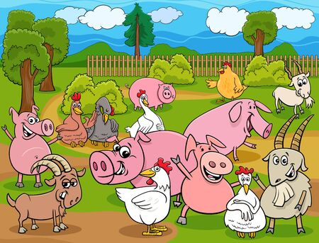 Cartoon Illustration of Happy Farm Animals Comic Characters Group in the Countryside