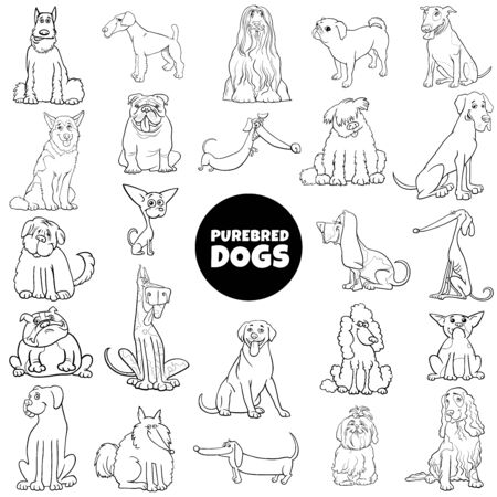 Black and White Cartoon Illustration of Purebred Dogs and Puppies Pet Animal Characters Large Set Coloring Book Page