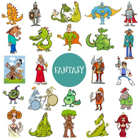 Cartoon Illustration of Funny Fantasy or Fairy Tale Characters Large Set Foto de archivo - 141148445